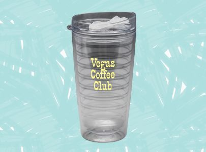 Custom Decorated Plastic Travel Mug for Las Vegas, Nevada